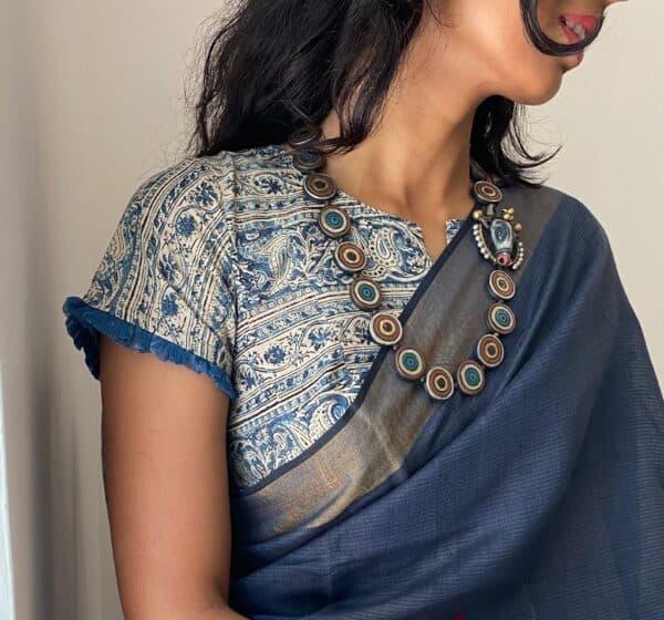 indigo kalamkari blouse