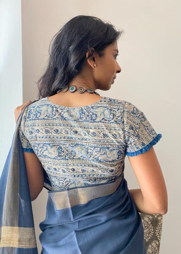 indigo kalamkari blouse1