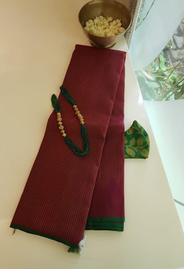 maroon rising border kanchi silk saree