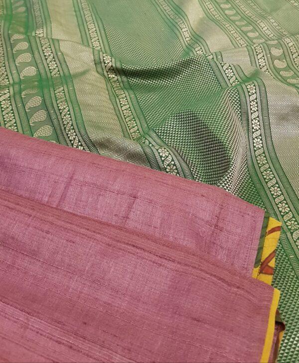 maroon tussar saree with green silk pallu