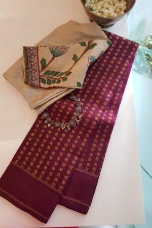 maroon with mayil chakram