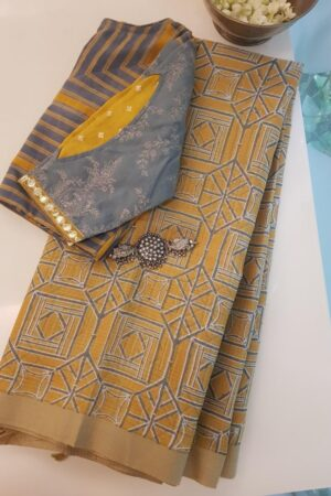 mustard and grey geometric prints