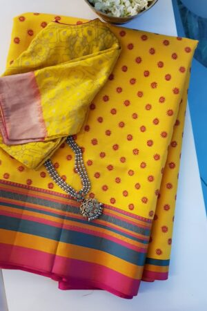 mustard silk with thread border and block prints