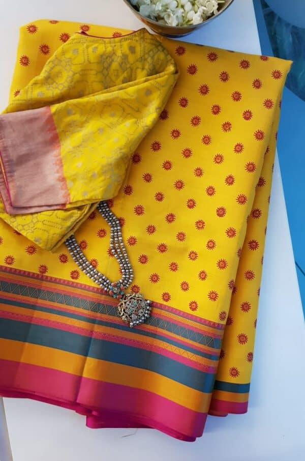 mustard silk with thread border and block prints