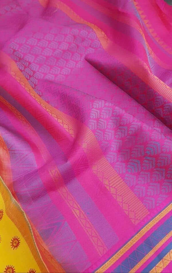 mustard silk with thread border and block prints1