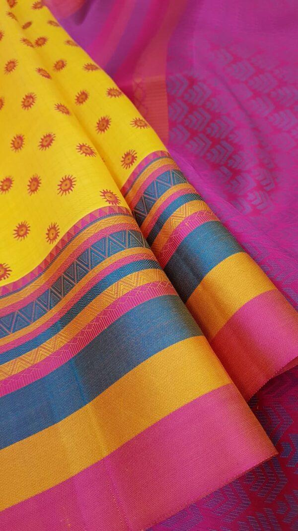 mustard silk with thread border and block prints2
