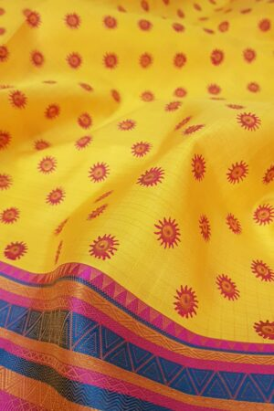 mustard silk with thread border and block prints4