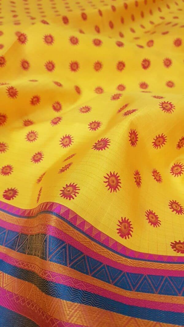 mustard silk with thread border and block prints4