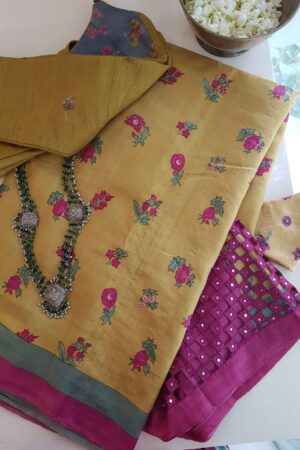 mustard with pink pallu cutwork