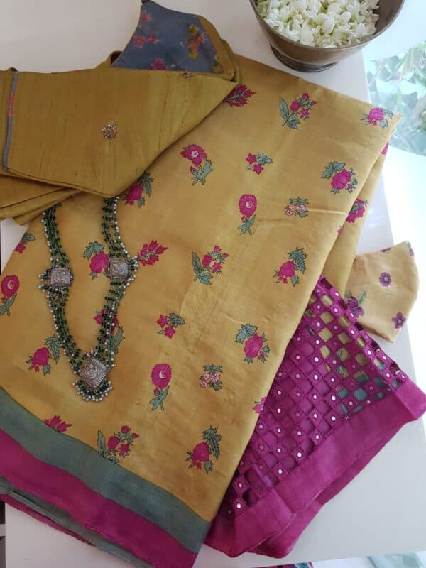 mustard with pink pallu cutwork
