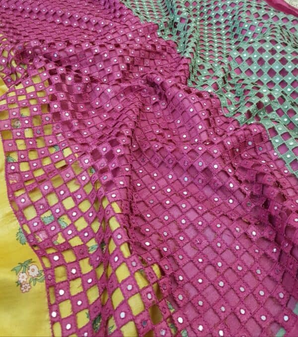 mustard with pink pallu cutwork1