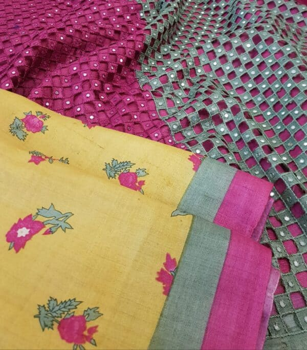 mustard with pink pallu cutwork2