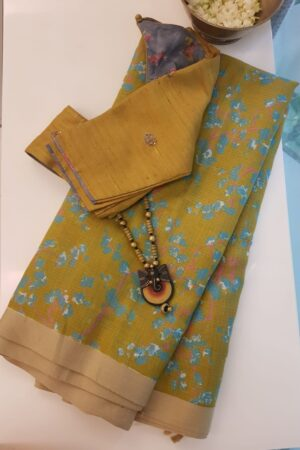 olive green kota saree