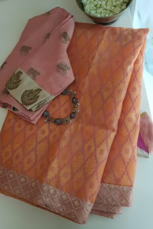 orange foil prints saree