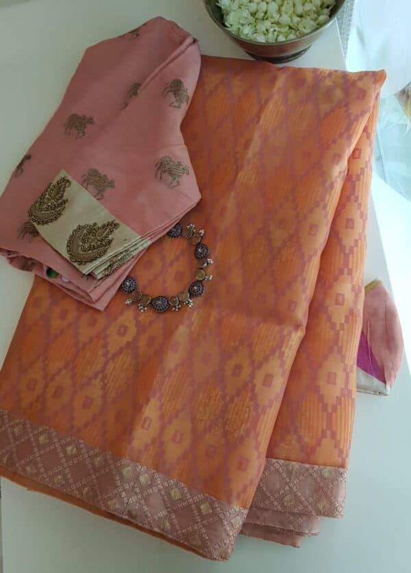orange foil prints saree