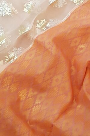 orange foil prints saree1