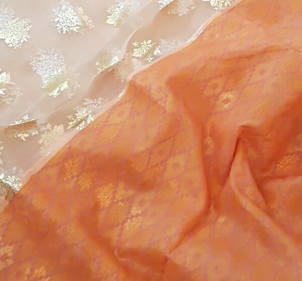 orange foil prints saree1
