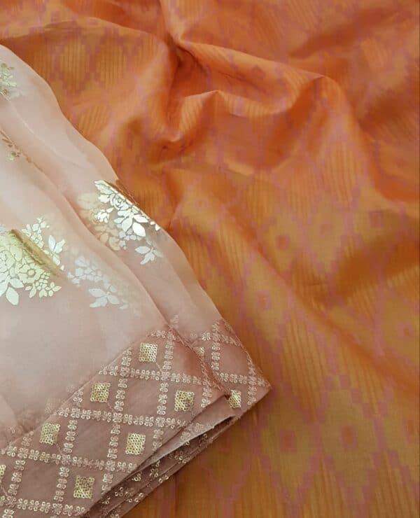 orange foil prints saree2
