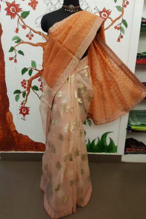 orange foil prints saree3