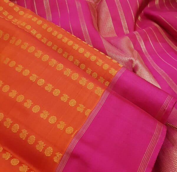 orange kanchi puram silk saree with mayil chakram1