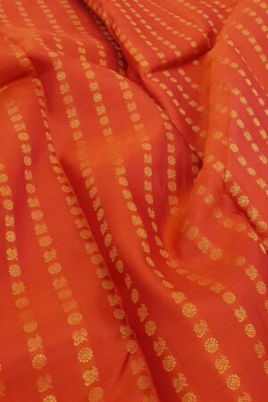 orange kanchi puram silk saree with mayil chakram2