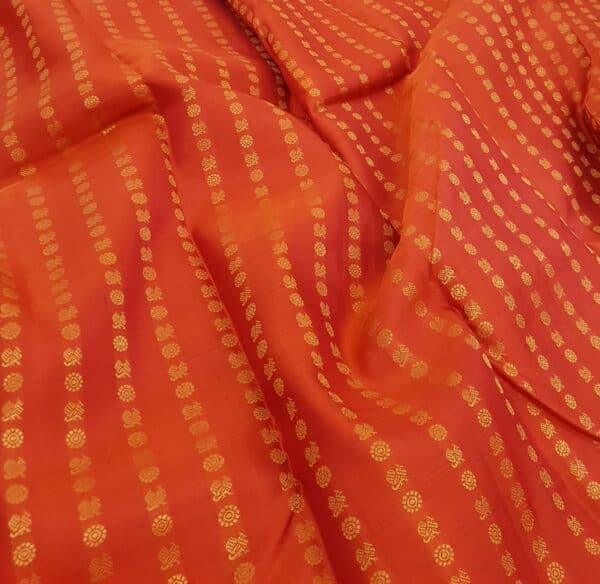 orange kanchi puram silk saree with mayil chakram2
