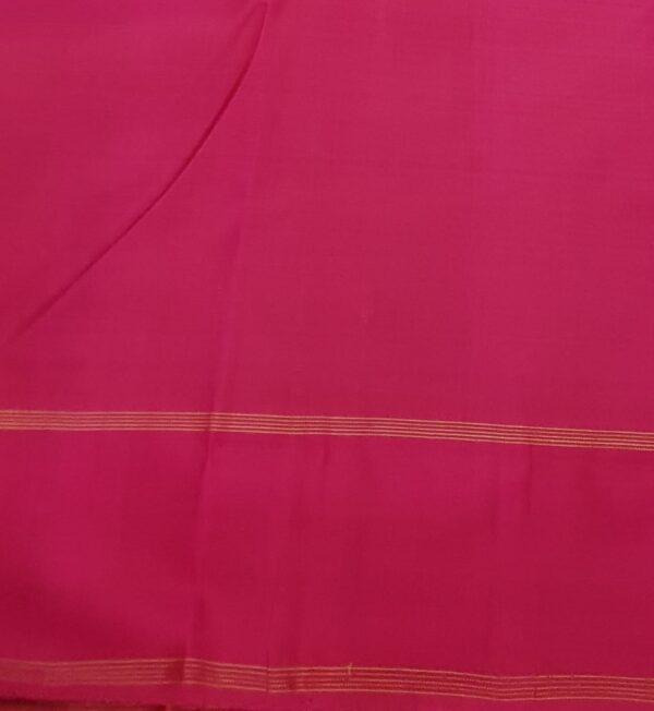 orange kanchi puram silk saree with mayil chakram3