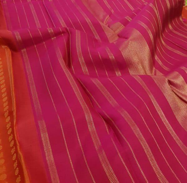 orange kanchi puram silk saree with mayil chakram4