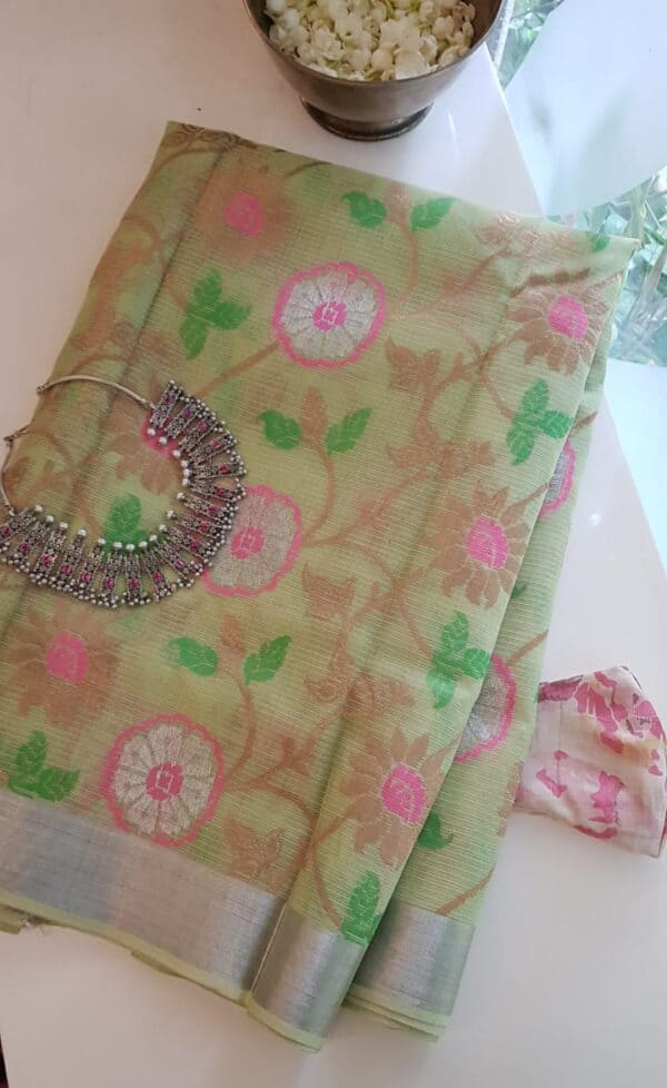 pale green with meena work body