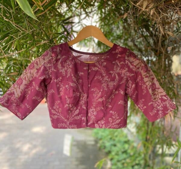pink embroidered blouse