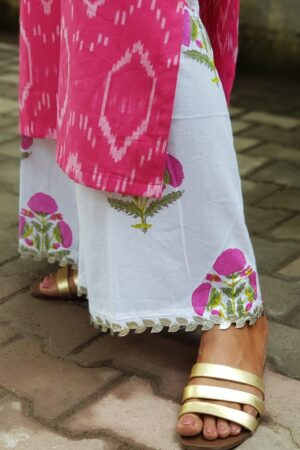 pink ikat top with white floral pants3