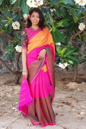 plain 3 parts saree