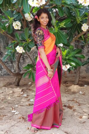 plain 3 parts saree1