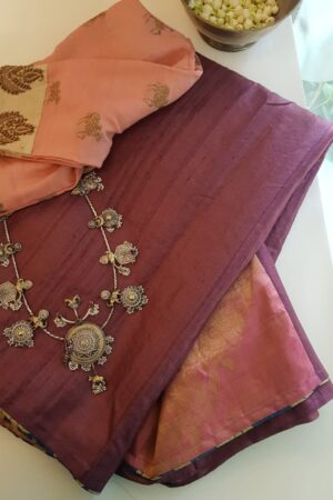 plum tussar with peach silk pallu