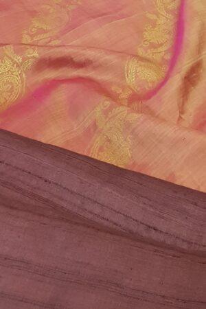 plum tussar with peach silk pallu1