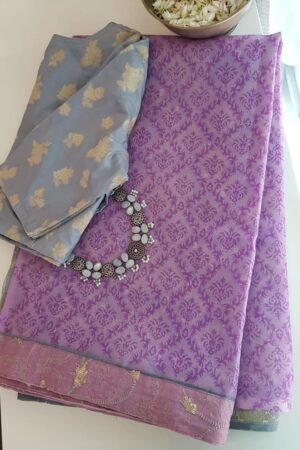 purple and grey organza saree