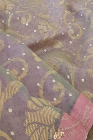 purple and grey organza saree2