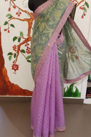 purple and grey organza saree4