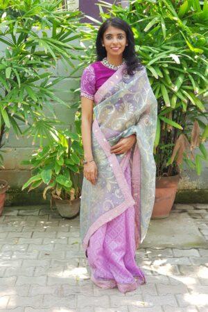 purple and grey organza saree5
