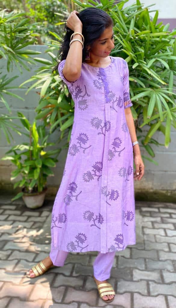 purple chanderi kurta