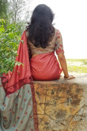 red with grey pallu