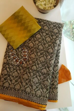 kota saree with block print and silk border1