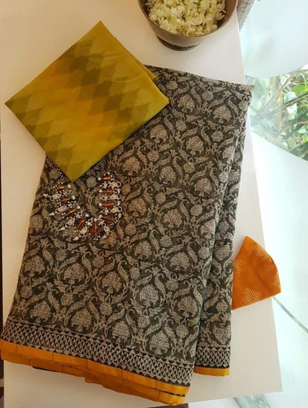 kota saree with block print and silk border1