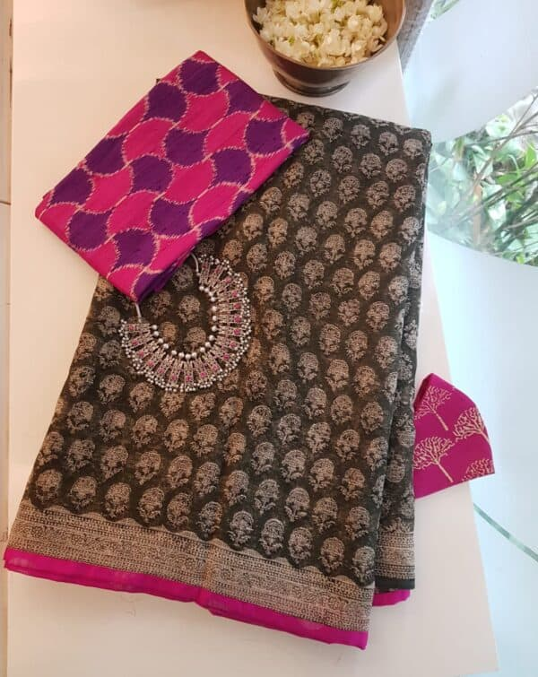 kota saree with block printa nd silk border
