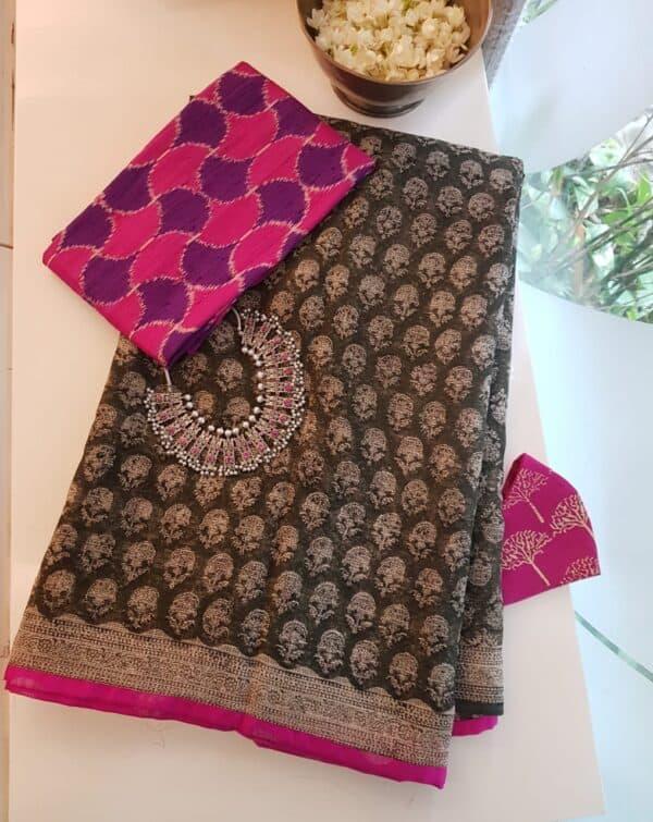 kota saree with block printa nd silk border