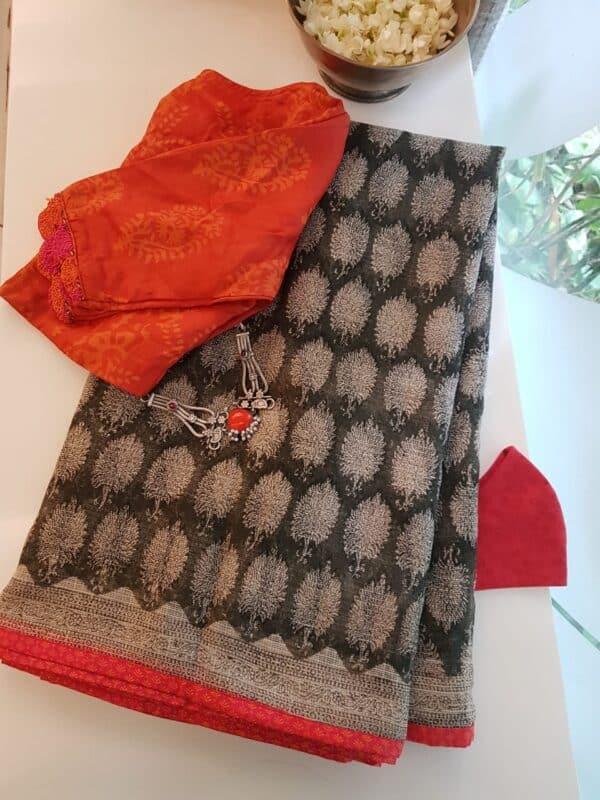 kota saree with block printa nd silk border 2