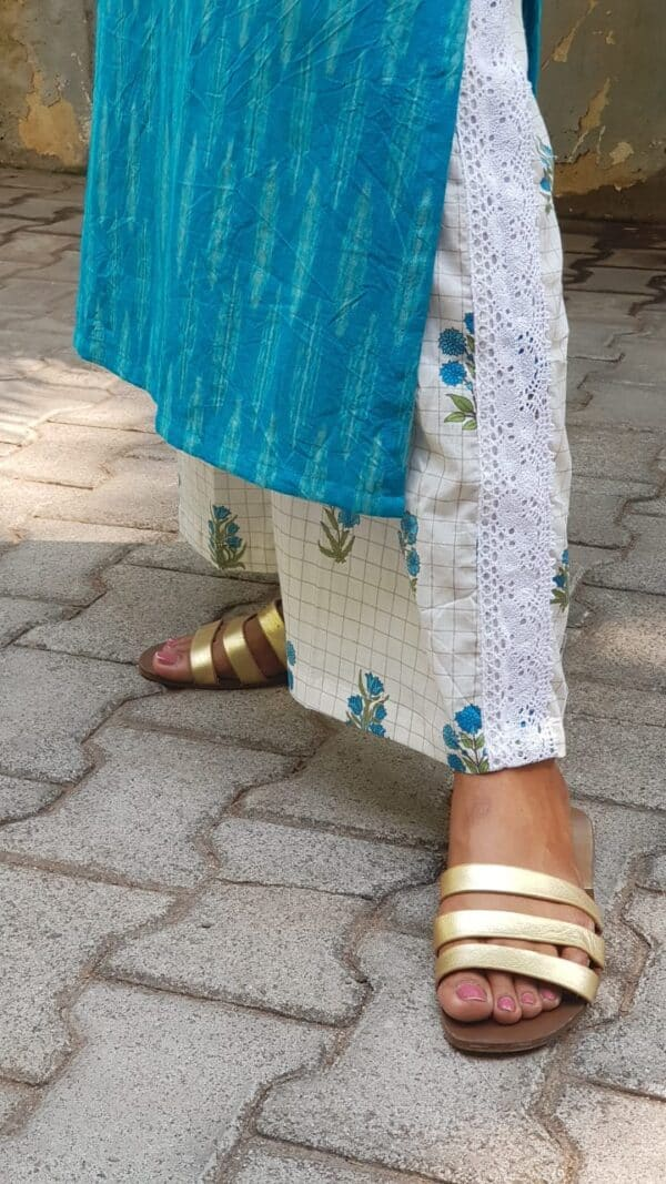 turquoise blue ikat top with white crochet pants1