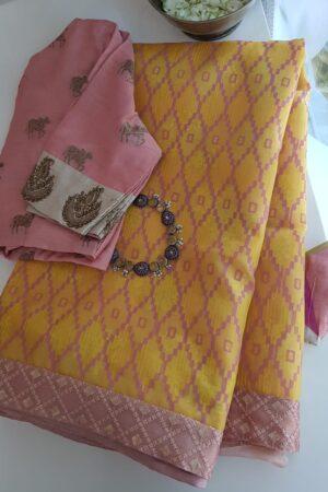 yellow foil prints saree