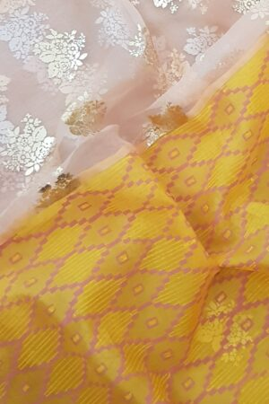 yellow foil prints saree2
