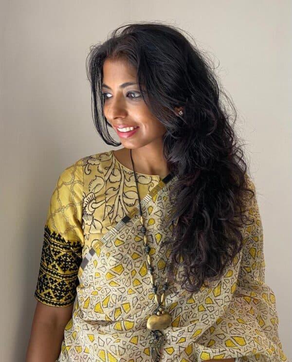 yellow kalamkari blouse